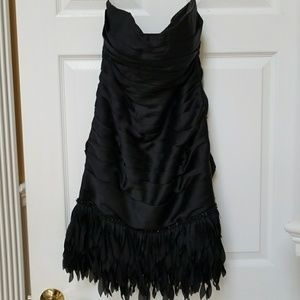 Girls black satin cocktail dress Size 8